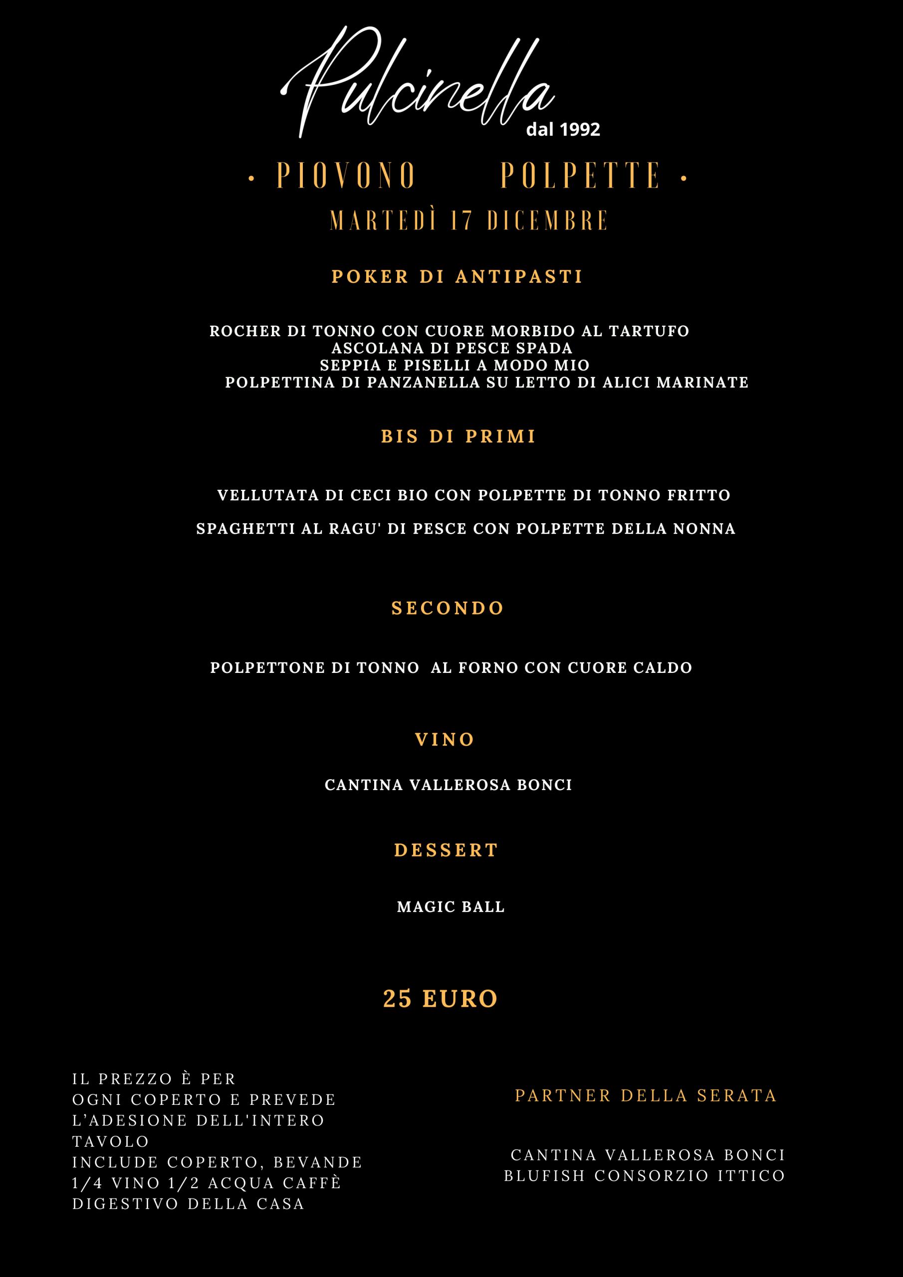 menu polpette